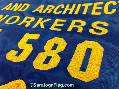 European style durable silk screen printing custom embroidered banner flag