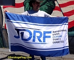 .JDRF- Custom NYLON FLAGS- 3x5ft Digital Print-BlueBorder