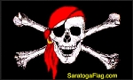 FLAG: Jolly Roger Pirate - Red Scarf