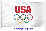 Olympics - USA OLYMPIC RINGS FLAG