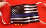 4) Novelty FACE MASKS - POLICE SUPPORT-Blue Line USA Flag