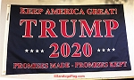 ...TRUMP- 2020 Promises- Cotton Flags -Made in USA