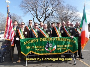 ...Custom PARADE BANNER- Ancient Order of Hibernians- APPLIQUE Stitched