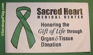 Custom Green Ribbon ORGAN DONOR- VINYL BANNERS - Numerous Sizes