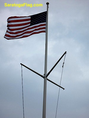 FLAGPOLE: Fiberglass-YARDARM- External Halyard- All sizes