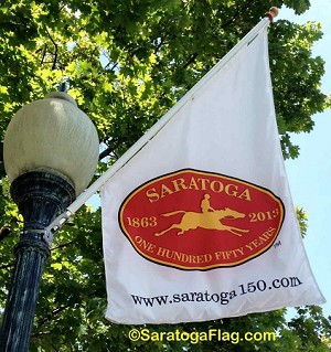 "- Official Licensed ""Saratoga 150"" BANNER (angle-top)"