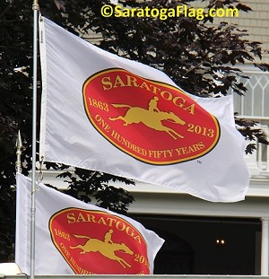 "- Official Licensed ""Saratoga 150"" Flag - Applique Stitched"