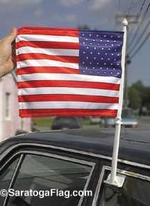 USA Flag: Car Window Mount/ Bracket