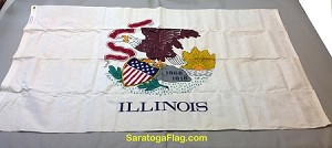 ILLINOIS STATE FLAG- 3x5ft Cotton Vintage- SOLD