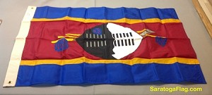 SWAZILAND- 3x4ft Applique Nylon Flag Vintage