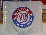 .WILTON BASEBALL- APPLIQUE Stitched Flag