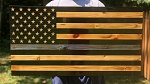 WOOD Blue Line USA FLAG - Police