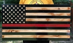 WOOD Red Line USA FLAG- Firefighter