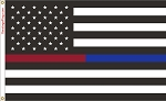 POLICE & FIRE DEPT: Thin RED & BLUE LINE USA Flag