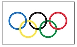 OLYMPICS RINGS FLAG - Applique Stitched- Custom
