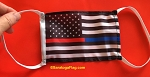 4) Novelty FACE MASKS - POLICE & FIRE SUPPORT-Blue Line USA Flag